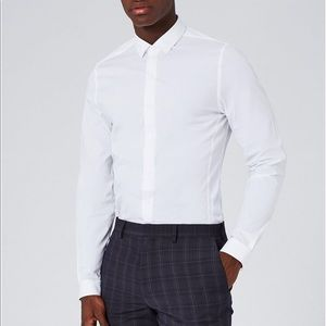 NEW Topman Muscle Fit White Button Up Dress Shirt